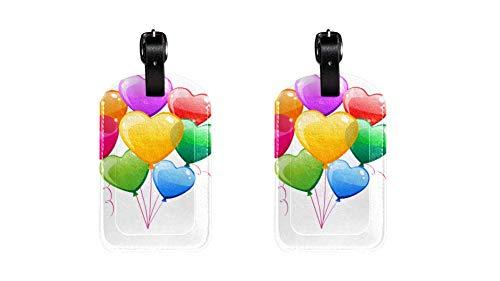 Herz-Ballon bunt Hochwertige PU-Leder Gepäckanhänger Kindertaschenanhänger Reise-ID-Etiketten Anhänger für Koffergepäckanhänger für Flug, Eisenbahn- und Schiffsreisen 2 Stücke