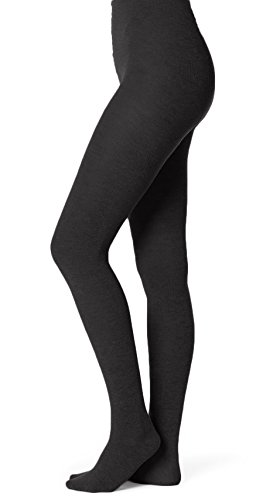 EMEM Apparel Women's Ladies Junior's Flat Knit Bamboo Cotton Sweater Winter Opaque Footed Tights Hosiery Stockings Black A