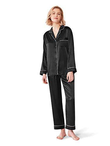 SIORO Conjunto de Pijamas de Mujer Pijamas de satén de Seda para Mujer Ropa de Dormir de Manga Larga con Botones, Negro, M