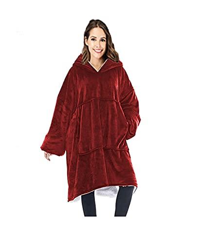Rancross - Manta Tipo Sudadera con Capucha de algodón y Forro Polar, Unisex, Color Rojo