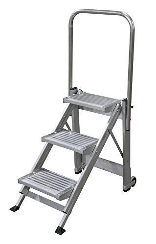 KTL Taburete-Escalera Industrial de Aluminio Plegable 3 peldaños con barandilla Serie k-Fold