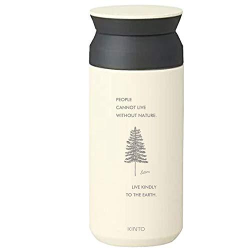 [名入れ無料] KINTO トラベルタンブラー 350ml キントー タンブラー 水筒 保温 保冷 真空二重構造 オシャレ マイボトル ギフト プレゼント (ホワイト, 【ボトル】ネイチャー)