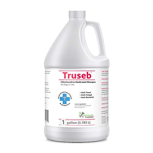 Truseb Medicated Shampoo for Dogs, Cats and Horses with Chlorhexidine and Ketoconazole - Hot Spots, Ringworm, Yeast, Fungal, Yeast Infections, Ringworm, Pyoderma & Skin Allergies U.S.A (1 Gallon)