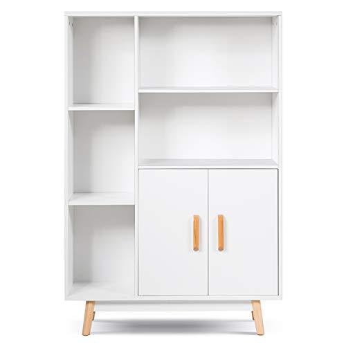 GIANTEX Kommode weiß, Sideboard Wohnzimmerschrank aus Holz, 5 Fächer & 2 Türen, Beistellschrank Anrichte Highboard für Badezimmer Küche Flur, weiß