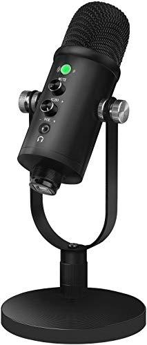 Desktop USB Kondensator Mikrofon für Streaming (Leistungsstarke Geräuschreduzierungsfunktion, Superniere Aufnahmemuster, latenzfrei, Stumm-Taste, Kopfhörer-Anschluss)