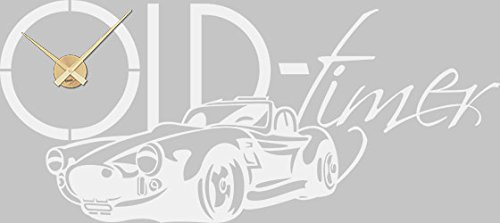 GRAZDesign Wandtattoo Uhr Wanduhr Auto Classic Car Oldtimer Oldie für Wohnzimmer (128x57cm / 010 Weiss/Uhrwerk Gold)