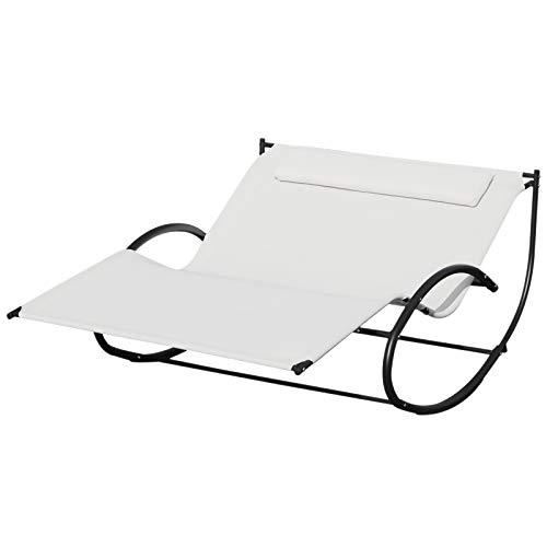 Outsunny Bain de Soleil transat à Bascule 2 Places Design Contemporain Assise Dossier ergonomiques Oreiller fourni métal Noir textilène crème