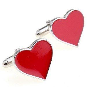 Boutons De Manchette En Forme De Coeur (Avec Boîte-Cadeau)