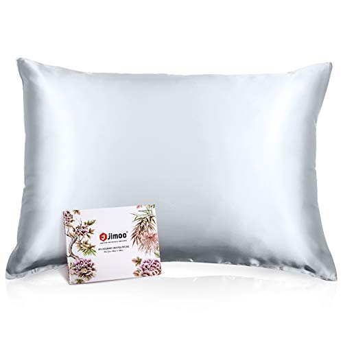100% Mulberry Silk Pillowcase for Hair and Skin, Both Sides 19 Momme Pure Natural Silk Pillowcases Soft Breathable Standard 20''×26'', Silver Grey 1 Pack