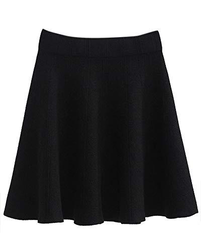 Damen Strick Rock Faltenrock Elastische Taille Mini Kurz Flared Röcke Strickröcke Schwarz