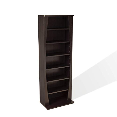 Atlantic Canoe Curved Multimedia Cabinet - Holds 231CDs, 115DVDs or 140 Blu-ray Games, Adjustable Shelves, in Espresso, 15 X 9.5 X 43 inches, PN22535717
