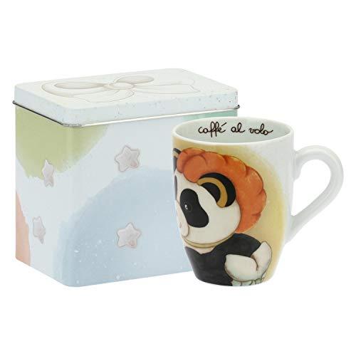 THUN ® - Mug Panda Capricornus con Scatola in Latta per tè, caffè, tisana - Porcellana - 300 ml - Ø 8,5 cm