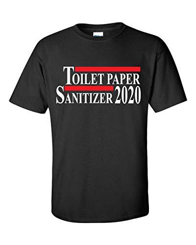 Camiseta engraçada de manga curta com papel higiênico e higienizador de mãos 2020, Preto, M