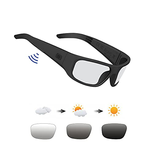 amazon echo frames review listen to these specs Safety Glasses,Open Ear Bluetooth Glasses with UV400 Blue Light Blocking and Transitional Healthy Lens Technology for Gaming, Reading and Computer, Can Make Phone Call and Listen Music.