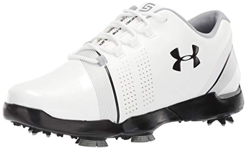 Under Armour Spieth 3 Jr, Chaussures de Golf garçon, Blanc (White/Overcast Gray/Black (100) 100),...