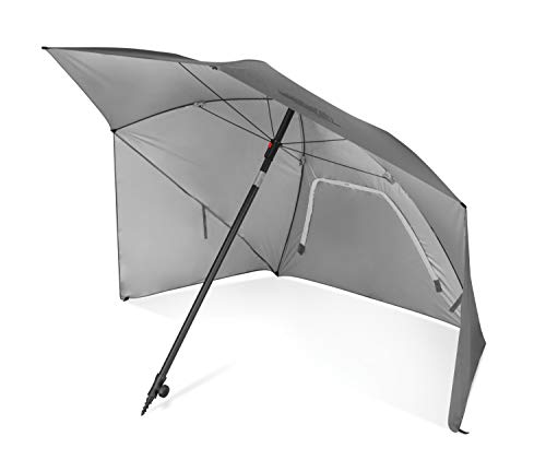 Sport-Brella Ultra SPF 50+ Angled Shade Canopy Umbrella for Optimum Sight Lines at Sports Events (8-Foot), Light Grey