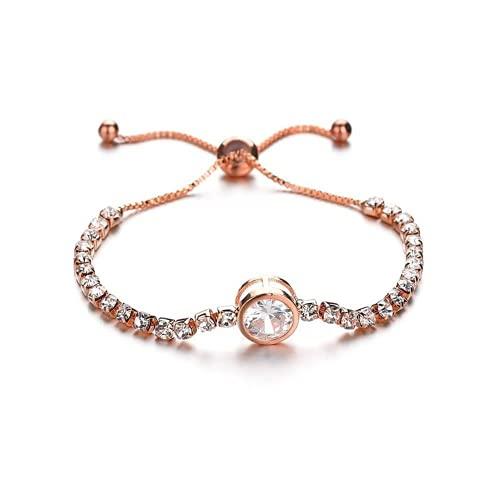 XIGAWAY 1 pulsera de cadena ajustable con circonita cúbica de oro rosa para mujer, joyería brillante de lujo