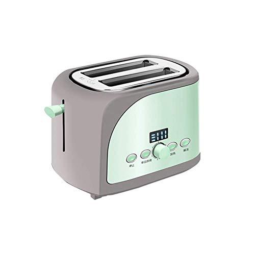 WYZQ Edelstahl Brotbackautomat Elektrischer Toaster Kuchen Toast Sandwich Ofen Grill 2 Scheiben Automatische Frühstücksbackmaschine, Grün, Toaster Sets