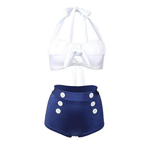 Laorchid Fashion Damen Bauchweg Hoher Taille Badeanzug Bikini Set Push Up Weiss & Blau S