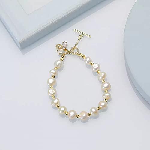 QiuYueShangMao Pulsera de Perlas barrocas de Agua Dulce Natural, joyería para Mujer, Moda, Color Blanco, Fiesta, Regalo de cumpleaños Pulsera de la Amistad Regalo de cumpleaños