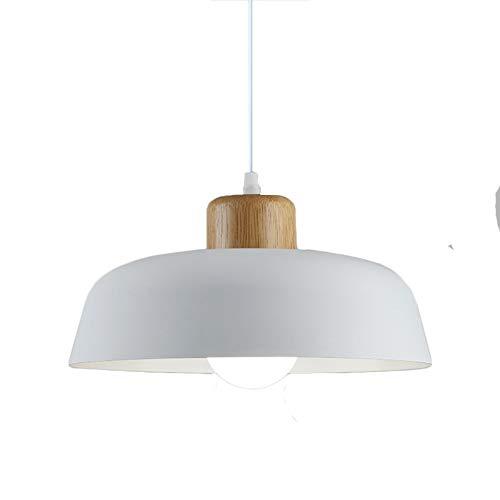 HJXDtech Luz colgante de metal redonda simple moderna nórdica,Lámpara de techo grande con acabado de madera E27 para salón de dormitorio de cocina (Blanco)
