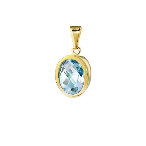 NKlaus colgante lágrima de topacio azul 333 8 quilates oro amarillo 9,5x8mm damas 9227