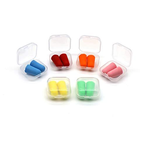 Tapones para Los Oídos para Dormir, Tapones Oídos de Espuma 6 Colores Tapones Oidos de Proteccion Auditiva para Dormir Estudiar Trabajo Ruido Reducción de Ruido, 6 Pares