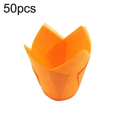WFZ17 Lot de 50 accessoires de pâtisserie résistants aux hautes températures pour cupcakes, muffins, muffins Orange