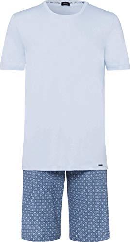 Hanro Herren Night and Day Short Sleeve Pajama Pyjama Set, Blaues minimales Ornament, Small