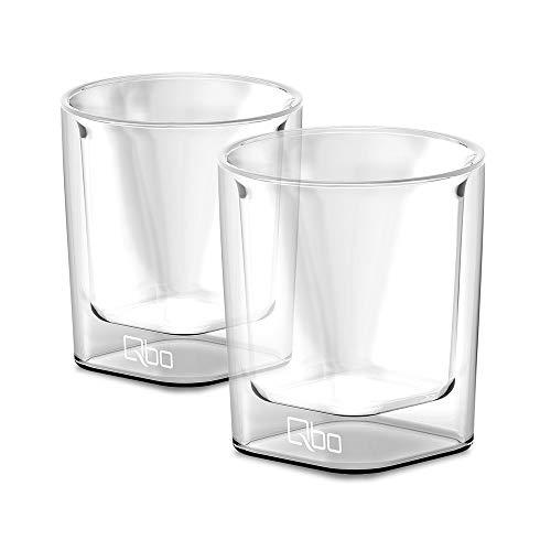 Qbo Espresso Glas 322209 2 Gläser (hochwertiges Glas mit gelasertem Qbo-Logo, mundgeblasen, 90 ml Füllmenge) 6,1 x 6,1 x 7 cm