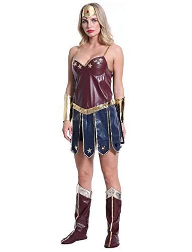MSSugar Lady Halloween Wonder Costume Cosplay Hero League Gladiator Uniforme Adultos Mujeres Navidad Navidad Carnaval Festival