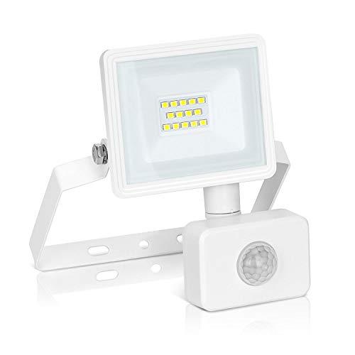 Aigostar 10W Foco LED con Sensor Movimiento PIR,900LM Super Brillo Focos LED Exterior, IP65 Impermeable, Blanco Natural 4000K Luz de Seguridad para Jardín, Patio,Garaje, etc.