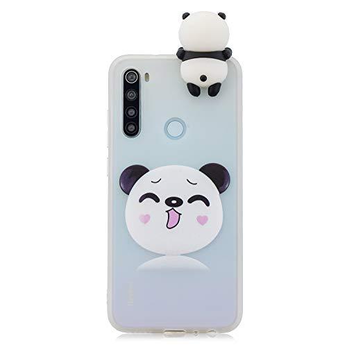 CUAgain Funda Compatible con Xiaomi Redmi Note 8 Silicona 3D Animal Dibujos Motivo Mate Kawaii Ultrafina One Piece Carcasa Case Antigolpes Bumper Protección Resistente Cover Panda