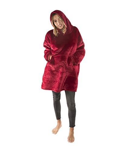Sherpa Wearable Robe couvertures Polaire en Peluche à Manches TV Plaids Super Doux Chaud Confortable Grande Sweat à Capuche Robes de Chambre Cadeaux de Noël pour Adulte Pull pour Homme Red