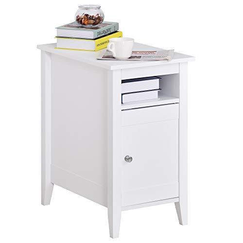 HOMCOM Beistelltisch Kaffeetisch Nachttisch Couchtisch Standtisch mit Kabinett Weiß, 36x55x64 cm