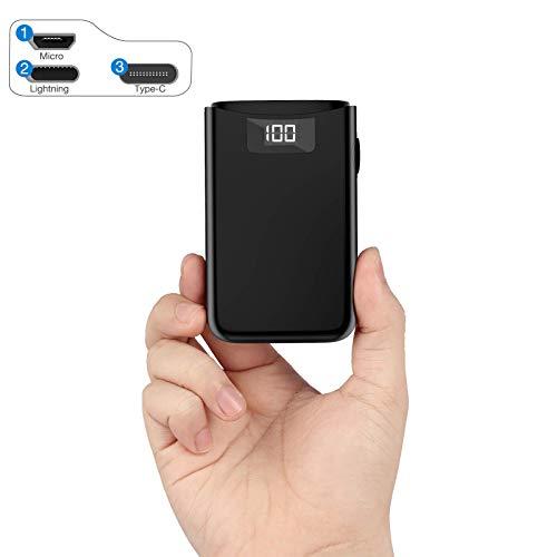 POSUGEAR Powerbank 10000mAh, Batería Externa Movil con 3 Entradas de USB C/Micro/L ightning, 2 Salidas y Pantalla LED, Compatible con iPhone, Samsung, Huawei, iPad, etc.
