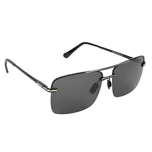 DAUERHAFT Occhiali da Sole robusti e durevoli, per la Guida di Occhiali di Protezione per la Visione Notturna(Black Gold Frame Black Gray Piece)