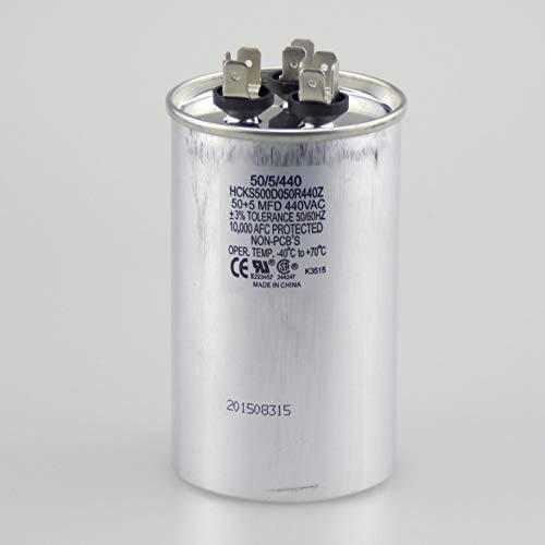 The HVAC Genius 45+5 uf MFD 370/440 Volt Dual Run Round Capacitor 45/5/440R Condenser Straight Cool/Heat Pump Air Conditioner