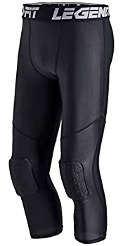 LEGENDFIT Youth Boys Basketball Compression Pants with Knee Pads 3/4 Capri Padded Sport Tights Athletic Workout Leggings Black