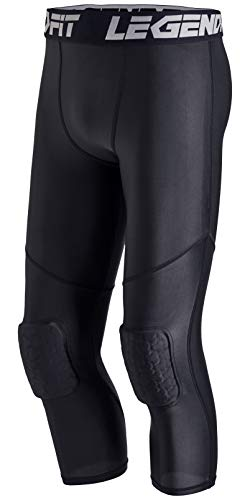 LEGENDFIT Men's Basketball Pants with Knee Pads 3/4 Capri Padded Compression Tights Leggings Sports Protector Gear Black