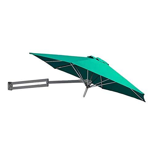 Sombrilla Parasol con Ángulo Ajustable Parasoles de pared verde con polo de metal - patio exterior patio soporte de pared sombrilla sombrilla con ajuste de inclinación, 8 pies / 250 cm, sin base de pa