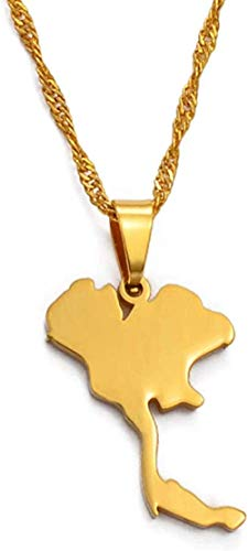 Collana Il Regno di Thailandia Mappa Collane con ciondolo per donna Ragazza/Uomo Gioielli color oro Regali tailandesi 60 cm