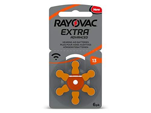 6 batterie RAYOVAC Extra Advanced con tecnologia Active Core 13, di ultima generazione per apparecchi acustici.