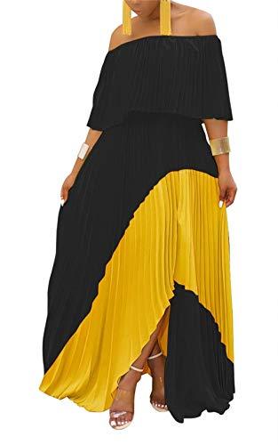 LROSEY Women's Short Sleeve Off The Shoulder Maxi Dresses Loose Ruffled High Waist A Line Pleated Dress Plus Size (Apparel)