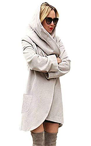 Minetom Basic Jacket Giacca con Cappuccio Donna Hoodie Cappotto Cappotti Autunno Inverno Cardigan Casuale Moda Parka Bianca IT 44