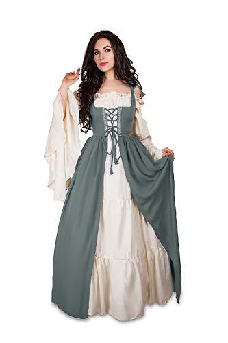 Mythic Renaissance Medieval Irish Costume Over Dress & Cream Chemise Set (XXS/XS, Charcoal)