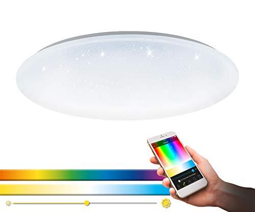 EGLO connect LED Deckenleuchte Totari-C, Smart Home Deckenlampe mit Sternenhimmel-Effekt, Material: Stahl, Kunststoff, Farbe: Weiß, dimmbar, Weißtöne und Farben einstellbar, Ø: 58 cm
