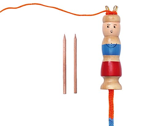 Betzold 1466 - Strick-Marie, Strickliesel, mit Holzstäbchen, Höhe mit Klammern ca. 12 cm, für Mützen, Armbänder, Taschen - Kinder Stricken lernen Kindergarten Gruppen