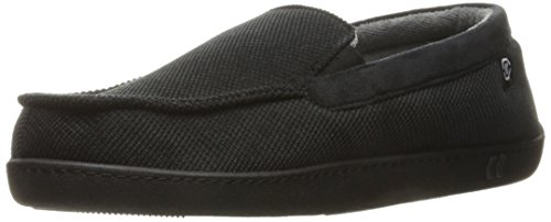 ISOTONER Men's Corduroy Gel Infused Memory Foam Moccasin, Black, X-Large