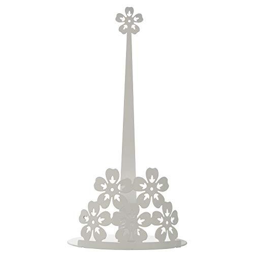 DRW keukenrolhouder met bloemen van metaal in wit 15 x 30 cm